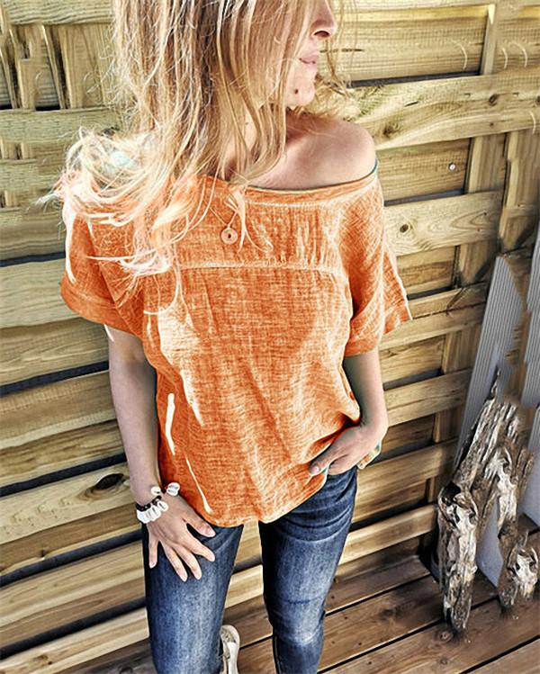 Loose Casual Solid Color Blouse Tops