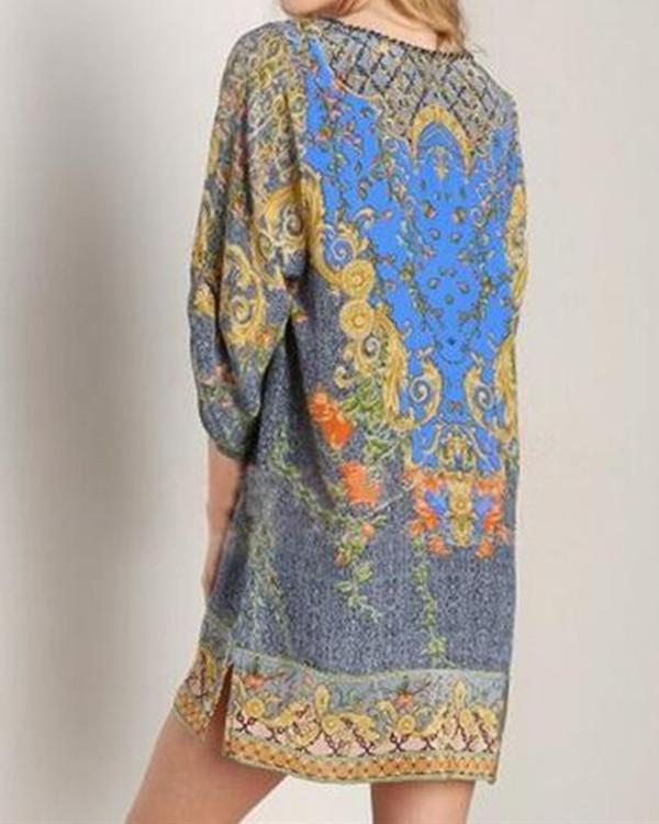 3/4 Sleeve Women Floral Vintage Boho Dress