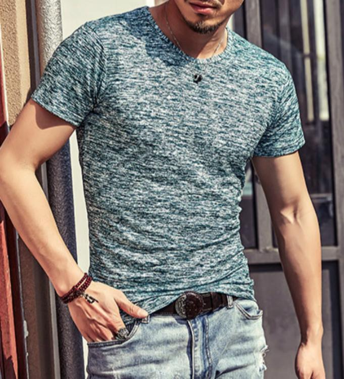 Men's Slim Fit Round Neck Short Sleeve T-Shirt Casual Tops