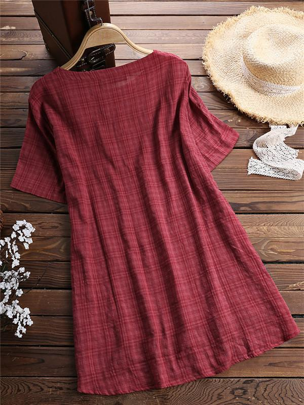 Casual Plaid Short Sleeve Irregular T-Shirt for Women