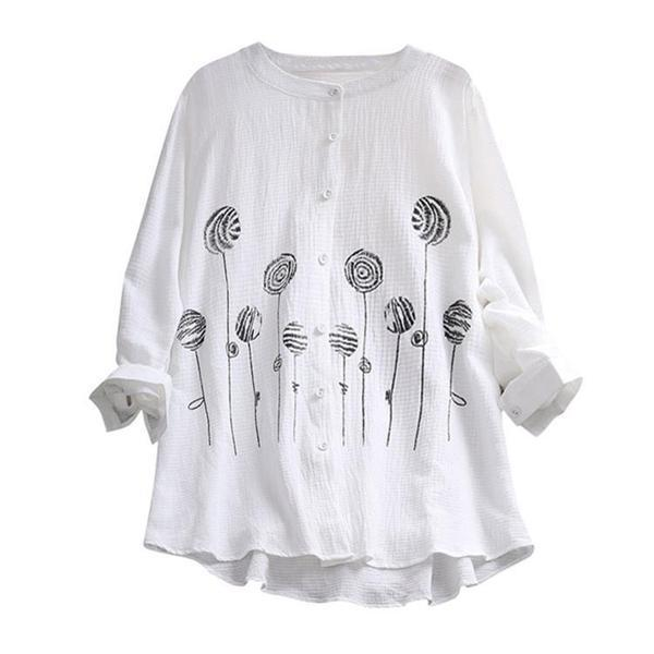 Women Vintage Button Print Blouses Tops