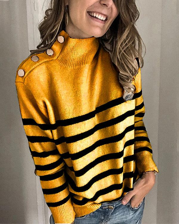 Women's Casual Striped Turtleneck Sweater