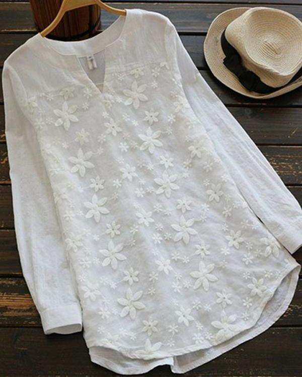 Women Casual Long Sleeve Floral Embroidery Patchwork Irregular Blouses Tops