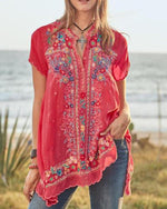 CASUAL SHORT SLEEVE V NECK PRINTED MEXICAN SHIRTS