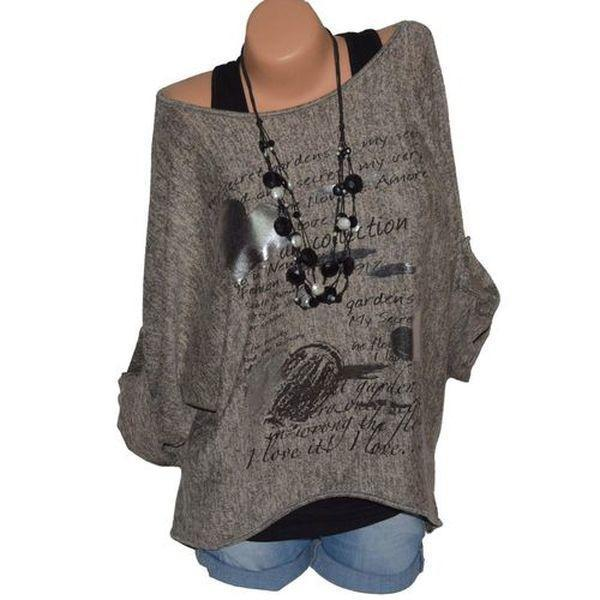 Plus size Women Fashion Long Sleeve O-neck Printing T-shirt Tops