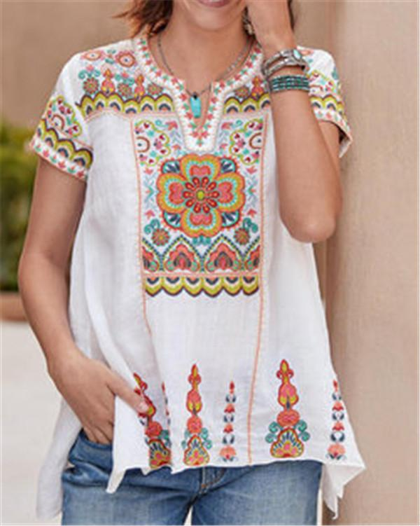 Ethnic Style Bohemian Summer Women Holiday Daily Blouse