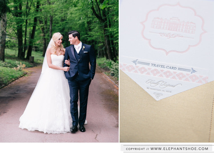 Extra info cards in sewn paper pocket // Photo by: one and only paris photography