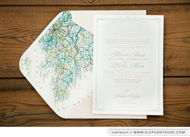 Formal Invitation inside vintage French map lined envelope // Photo by: Blackframe photography