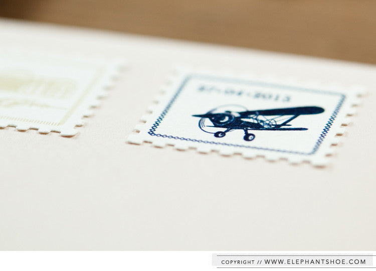 Custom stamps on blush envelope // Photo by: Blackframe photography