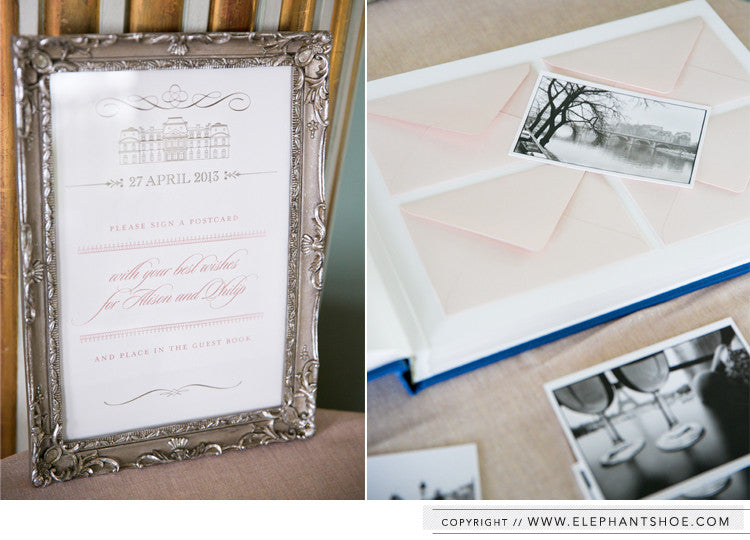 Custom guest book with individual envelopes for French postcards // Photo by: one and only paris photography