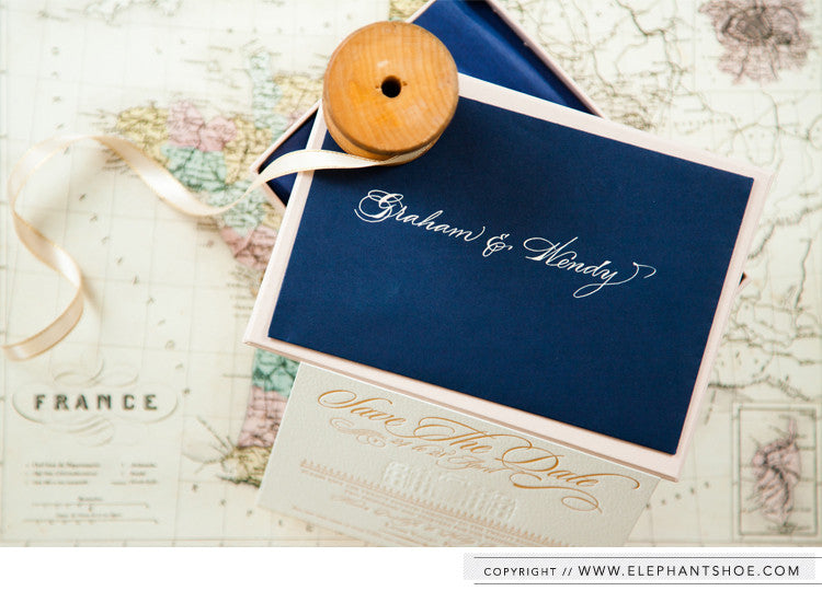 Save the Date macaron box with letterpressed card // Photo by: Blackframe photography