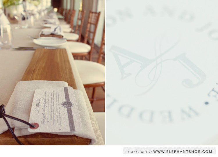 Guest tags attached to wooden gift boards // Photo by: Ian Mitchinson