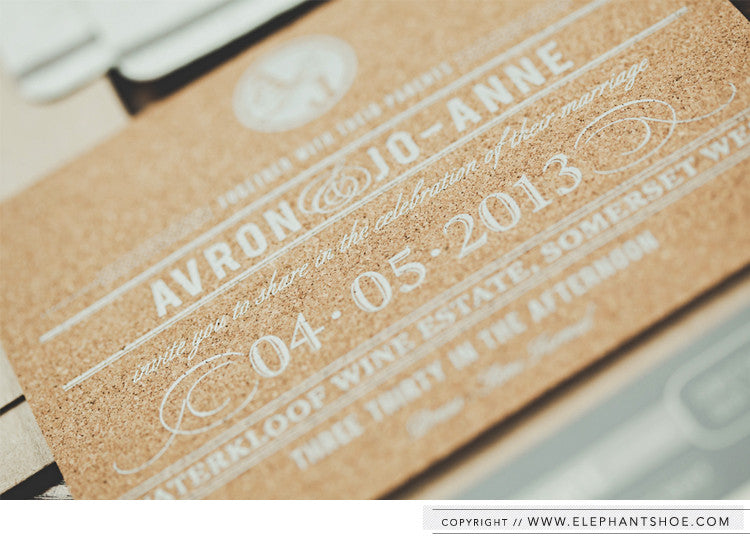 Cork screenprinted invitation // Photo by: Blackframe Photography