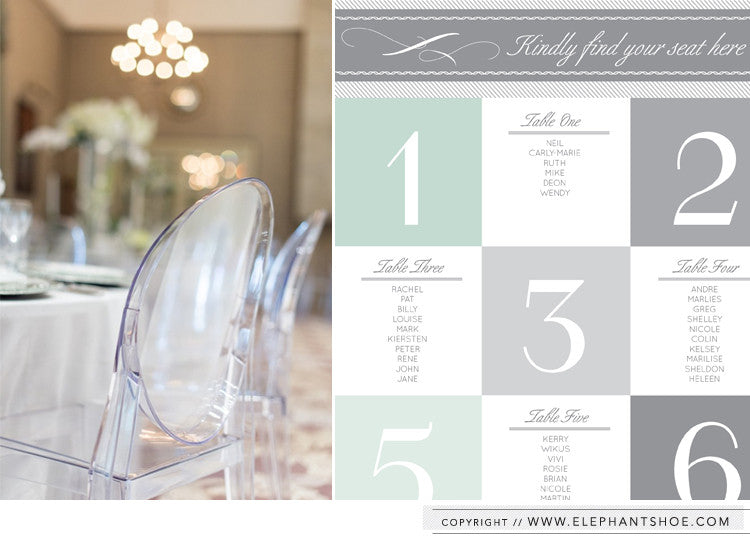 Table seating chart // Photo By: Christine Meintjes