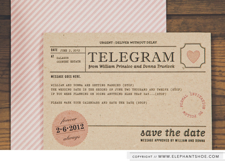 Telegram magnet Save the Date// Photo By: Blackframe Photography