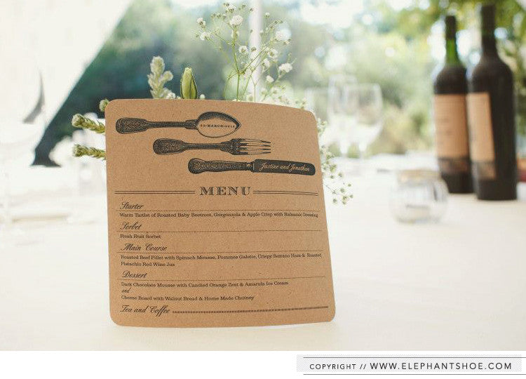 Wine table numbers and kraft menu // Photo by: Lad & Lass