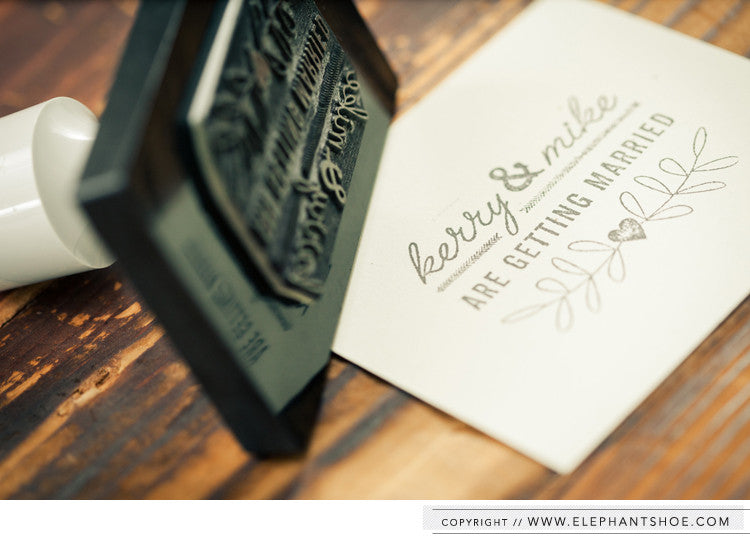 Personalised wedding stamp // Photo by: Blackframe Photography
