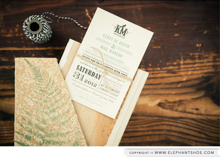 Invitation wrapped in natural twine // Photo by: Blackframe Photography