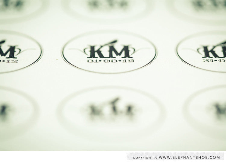 Custom monogram stickers // Photo by: Blackframe Photography