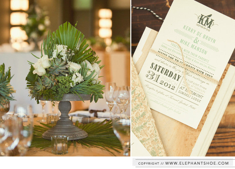 Invitation with natural twine // Photo by: 1. Samantha Maber 2. Blackframe Photography