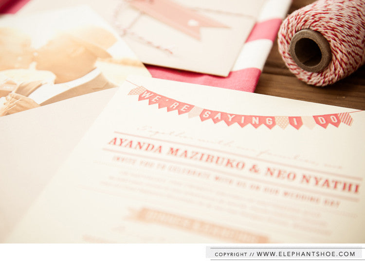 Invitation and envelope with photo liner // Photo by: Blackframe Photography