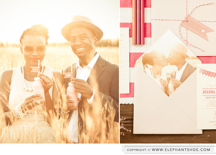 Envelope with photo liner // Photo by: Blackframe Photography