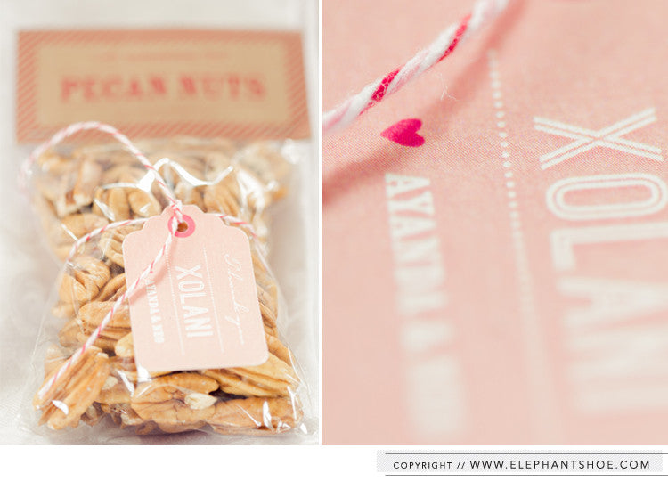Pecan nut gift bag and personalised tags // Photo by: Blackframe Photography