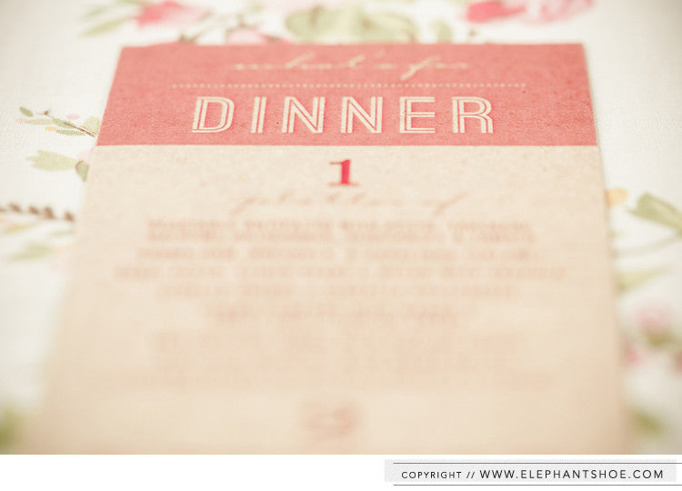 Kraft menu // Photo by: Blackframe Photography