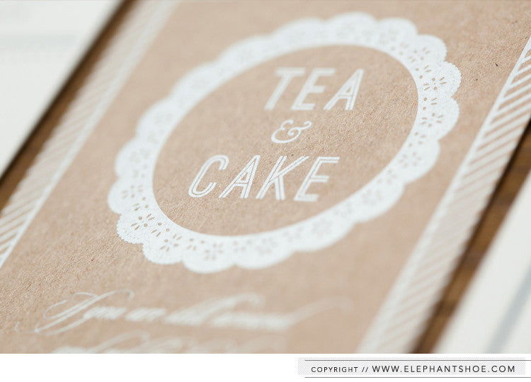 Sunday afternoon Tea & Cake info card // Photo by: Blackframe Photography