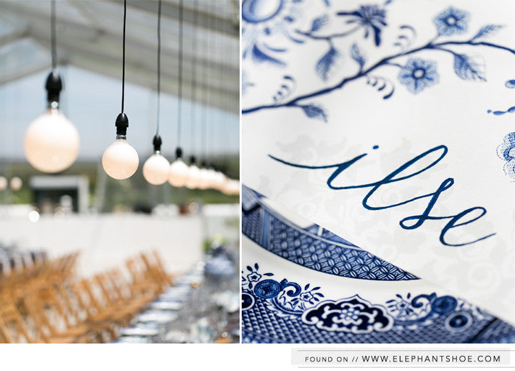 Newsprint Placemats with delft design & handwritten fonts // Photo by: Catherine Mac