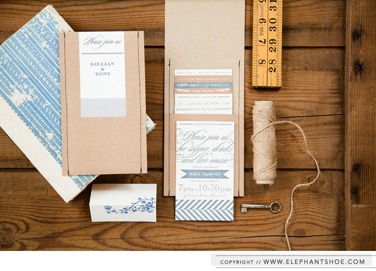 Letterpress & screenprint Invitation in Kraft pocket // Photo by: Blackframe Photography