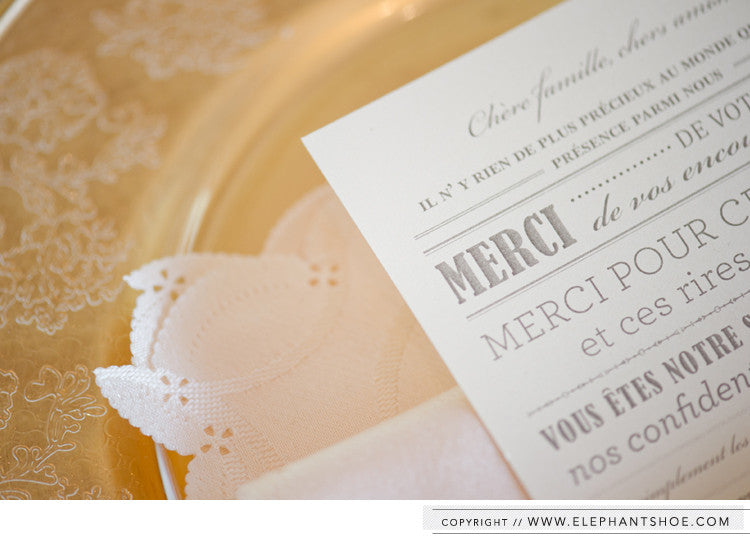 Guest place setting thank you card // Photo By: Stella Uys