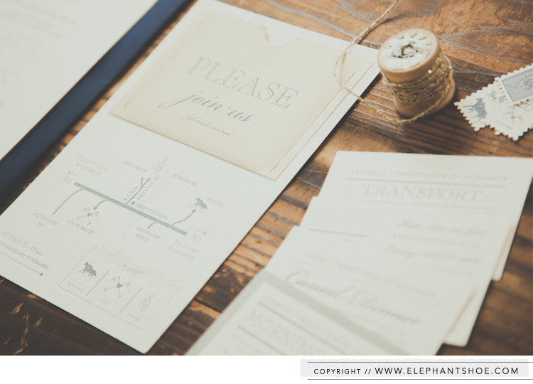 Map, RSVP, Morning Golf, Casual Dinner and transport cards // Photo By: Blackframe Photography
