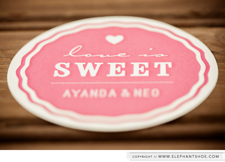 Brown paper sweet packet sticker // Photos by: Blackframe Photography