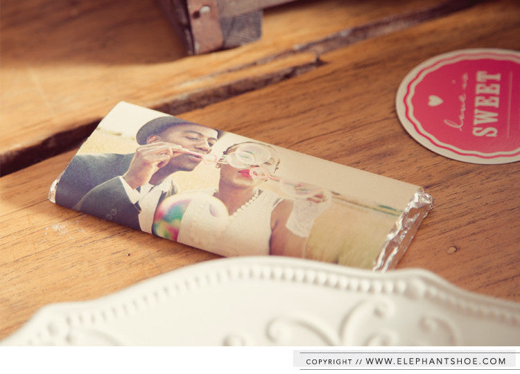 Custom chocolate wrappers // Photos by: Blackframe Photography