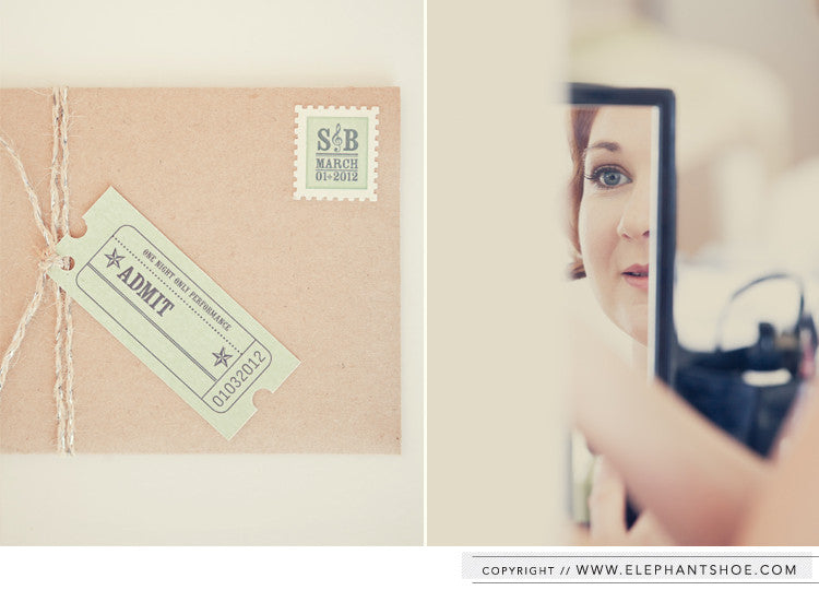 Kraft pocket, tag and custom stamp // Photo by: Blackframe Photography