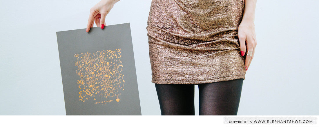 Love is Golden Rose Gold Foil Print
