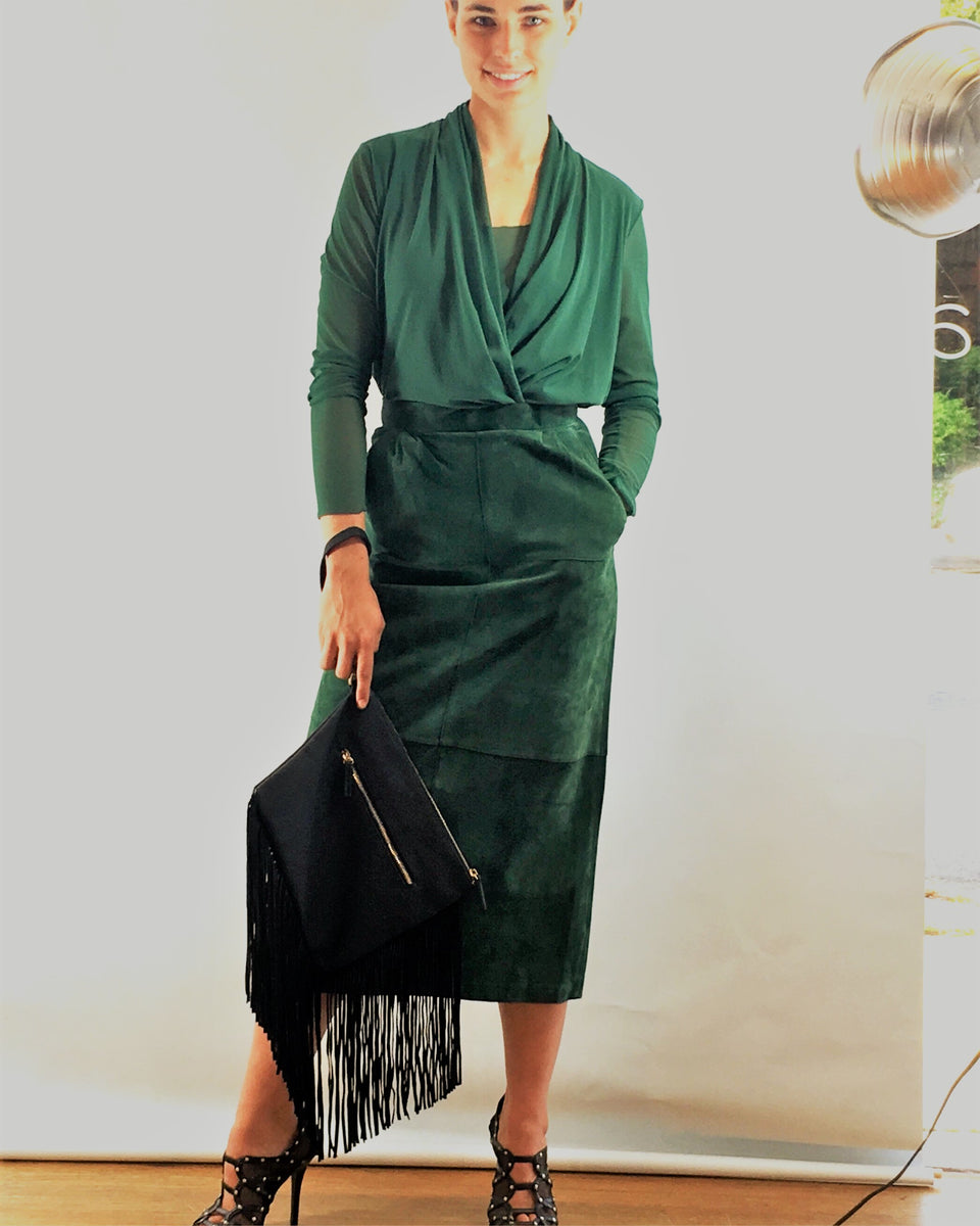 Surplice blouse in emerald mesh. Vintage suede mid-calf pencil skirt.