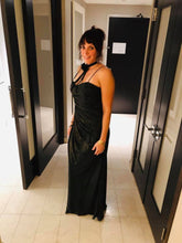 Load image into Gallery viewer, Black and Gold Shirred Gown for RENT