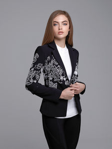 Embroidered Botanical Design Eyelet Jacket - Alberto Makali - frock-on-penn-llc - Tops