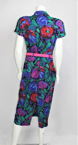 Eighties Graphic Floral Day Dress