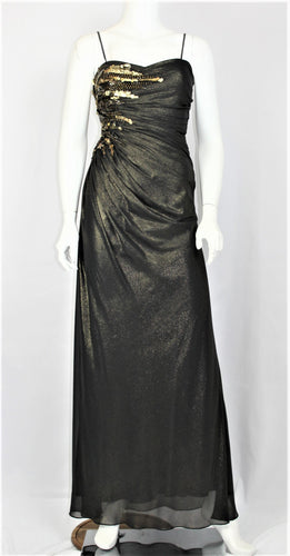 Black and Gold Shirred Gown for RENT