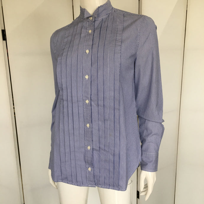 Button Front Pinstripe Blouse - Marienbad - frock-on-penn-llc - Tops and Blouses