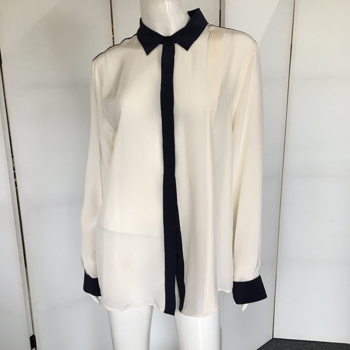 Button Down Silk Blouse - Marienbad - frock-on-penn-llc - Tops