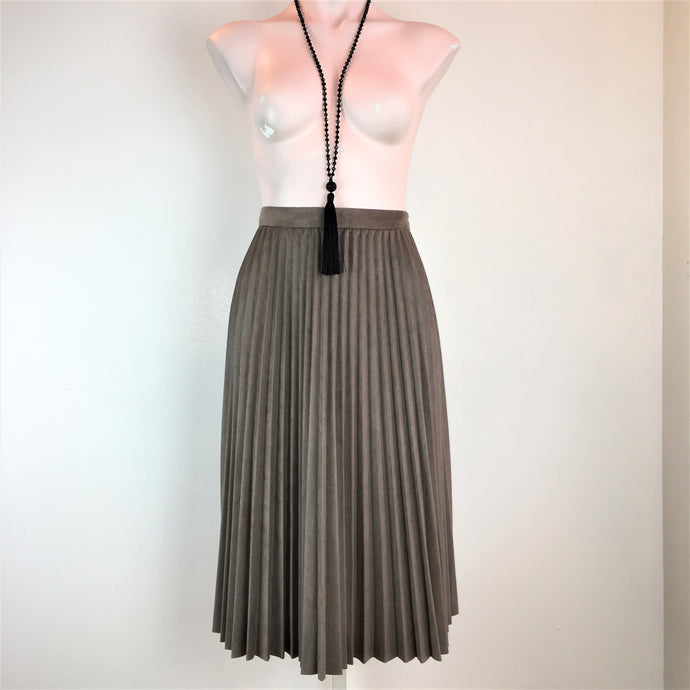 Pleated Faux Suede Skirt