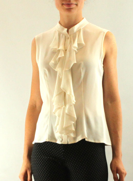 Sleeveless Silk Blouse - Zelda - frock-on-penn-llc - Tops and Blouses