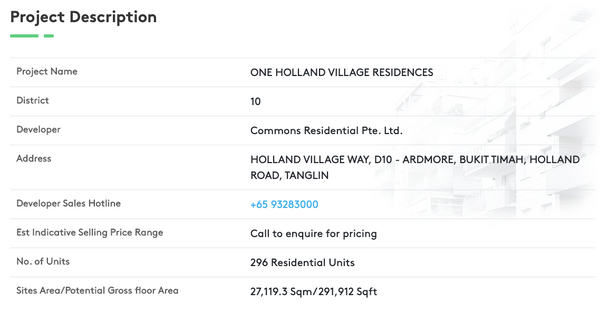 One Holland Village Residences Project Info