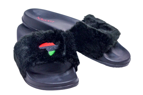 Queen Nzinga Empress Black Fur Slippers
