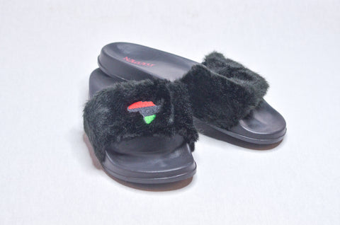 The Empress Black Fur Slippers