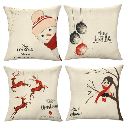 HomeDoReMi Christmas Pillow Covers 18x18 Set of 4, Cotton Linen Material